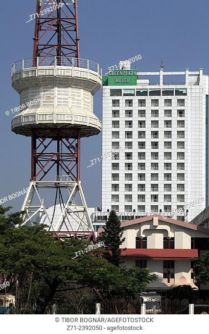 Vietnam, Da Nang, Green Plaza Hotel, telecommunications tower,