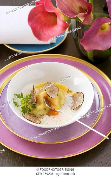 Truffled ravioli with egg yolk