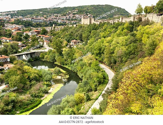 The Tsarevets fortress and Yantra river in Veliko Tarnovo in Bulgaria