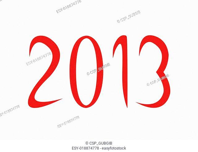 2013 on white background