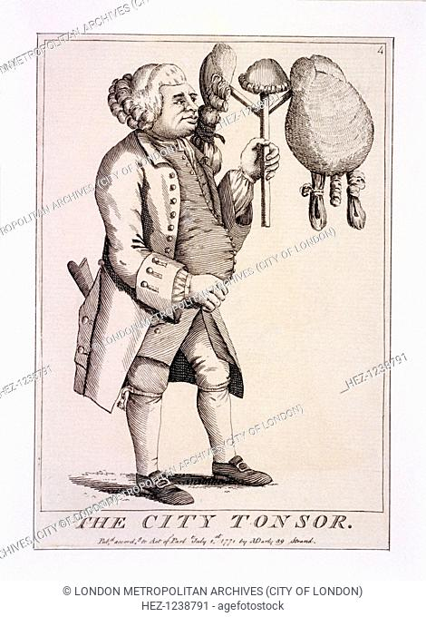 'The City Tonsor', 1771. A corpulent man is holding three wigs on a stand; the one on the right is like that worn by macaronis