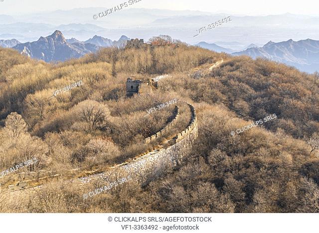 The Great wall of China at Mutianyu section. Huairou County, Beijing Municipality, People's Republic of China