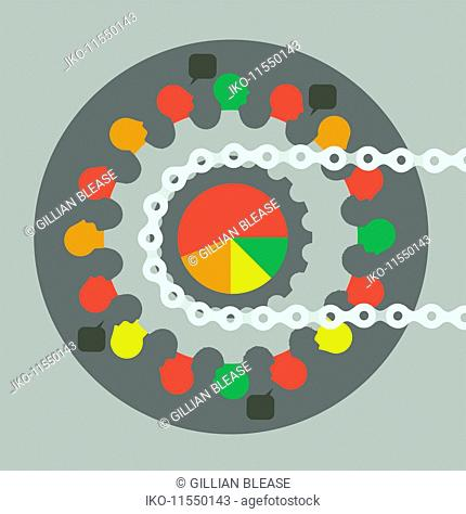 People connected on multi coloured bike gear cog