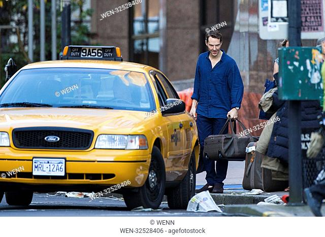 Benedict Cumberbatch filming scenes for new TV adaptation of Patrick Melrose in Glasgow, Scotland which production has transformed the streets of Glasgow into...