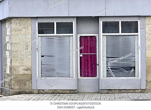 old shop front at Loches in Touraine, department of Indre-et-Loire, Centre-Val de Loire region, France, Europe