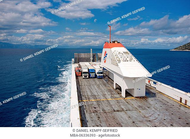 Ferry on the way from Bari in Italy to Patras in Greece
