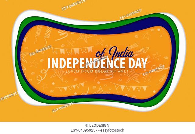 India. Independence day greeting card. Paper cut style