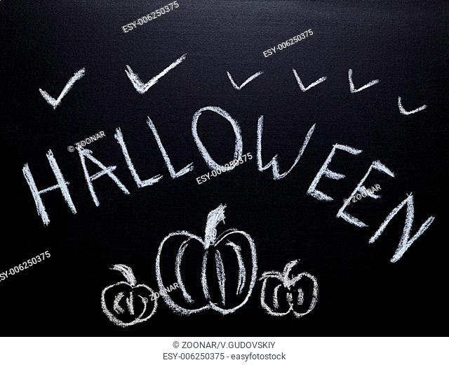 halloween sketch drawn on chalkboard