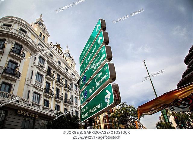 Signal at Fuencarral street, Madrid, Spain