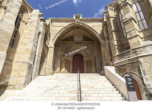 Old Cathedral, Catedral de Santa Maria de la Seu Vella, gothic style, iconic monument in the city of Lleida, Catalonia. Spain