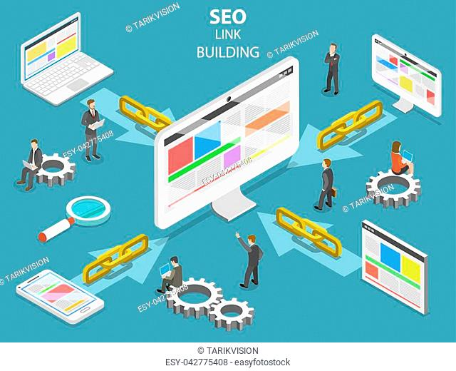 SEO link building flat isometric vector concept. Concept of SEO and digital marketing