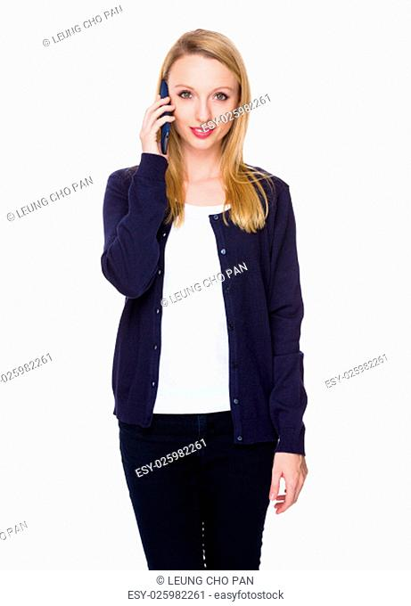 Caucasian young woman talk to mobile phone