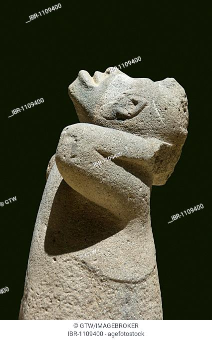 Monkey, Olmec giant stone head and sculpture, Park Museum La Venta, Villahermosa, Yucatan, Mexico