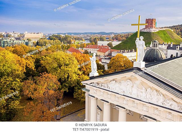 Lithuania, Vilnius, Vilnius cathedral roof with cityscape in background