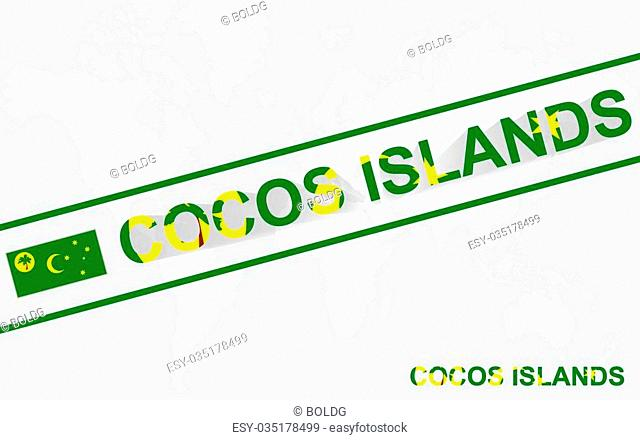 Cocos Islands map flag and text illustration, on world map