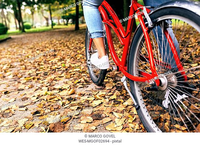 Legs of a woman riding a bike in a park in autumn