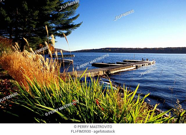 Early morning view of Lake Massawippi in Autumn, North Hatley, Eastern Townships, Quebec