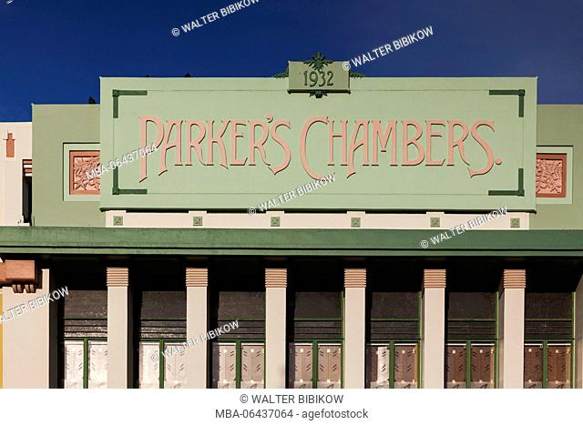 New Zealand, North Island, Hawkes Bay, Napier, art-deco architecture, Parker's Chambers Building