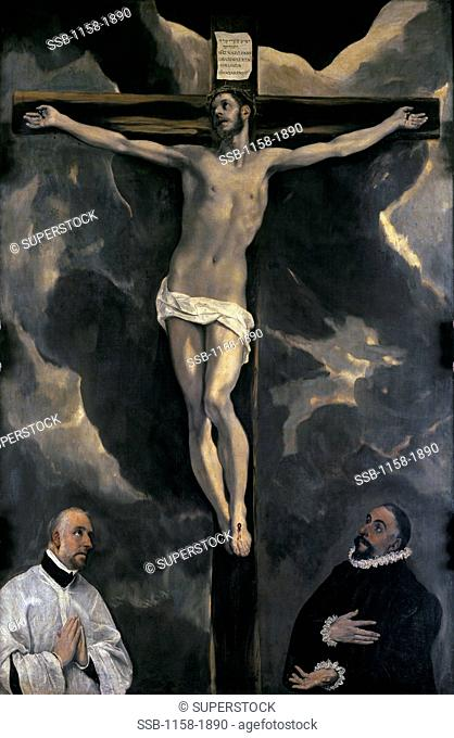 Christ on the Cross Adored by Two Donors 16th C. El Greco 1541-1614/Greek Musee du Louvre, Paris