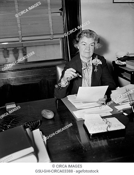 Edith Nourse Rogers, First Woman Elected to Congress from Massachusetts, Portrait Sitting at Desk, Washington DC, USA, Harris & Ewing, February 1936