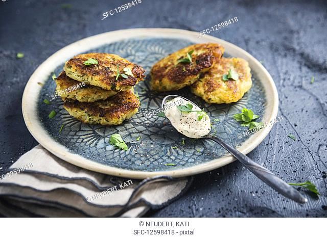Vegan potato and celeriac fritters