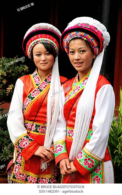 Two girls from Bai Ethnic group dressed in traditional costumes (Bai is one of the 56 ethnic groups officially recognized by the Chinese government)