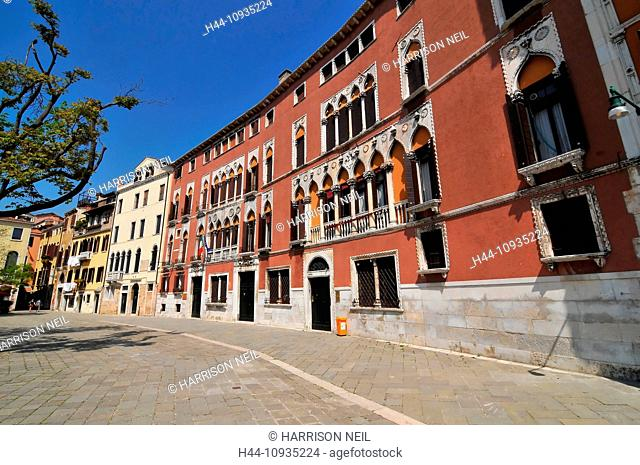 The famous Palazzo Soranzo in the Campo San Polo, Venice refered to by Ruskin as Venetian gothic. Home of the Soranzo doge