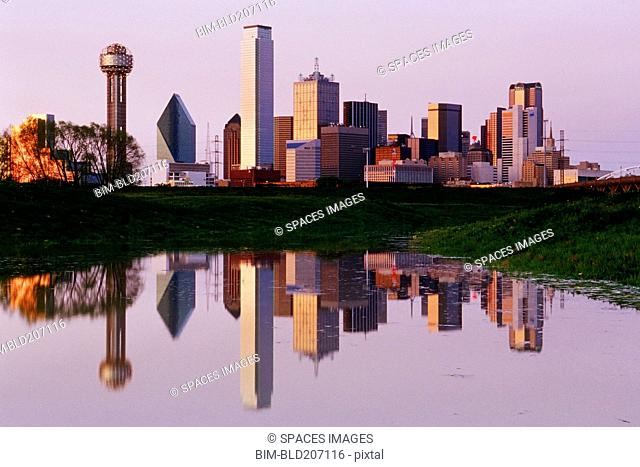 Dallas Skyline Reflected in Pond at Dusk