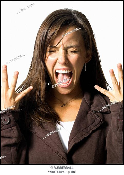 Screaming and excited young woman