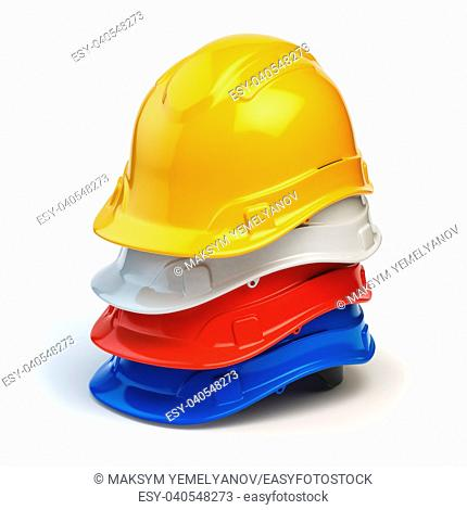 Various hard hats, safety helmets isolated on white. 3d illustration