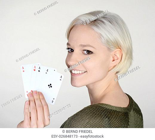 woman with aces