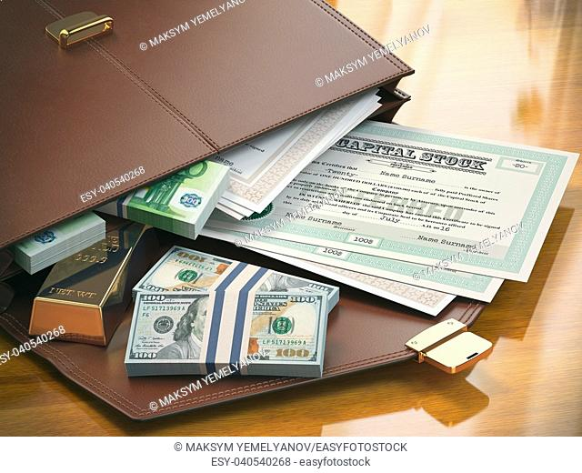 Stock market portfolio concept. Briefcase with capital stocks, bonds, gold and money. 3d illustration