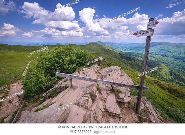 Osadzki Wierch Mount on the Wetlina High Mountain Pasture in Western Bieszczady Mountains in Poland