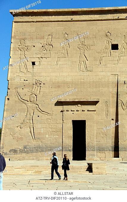 PYLON OF THE TEMPLE OF ISIS; PHILAE, AGILKIA ISLAND, ASWAN, EGYPT; 10/01/2013