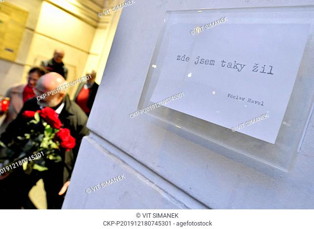A plaque (photo) commemorating the late Czech dissident, playwright and first post communist president Vaclav Havel (1936-2011) was unveiled on the apartment...