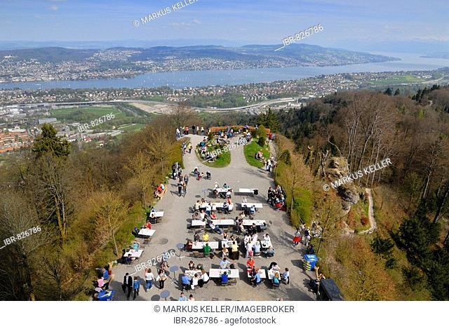Visitor's platform, viewed from Uetliberg Tower, Lake Zuerichsee at back, Zuerich, Canton of Zuerich, Switzerland, Europe