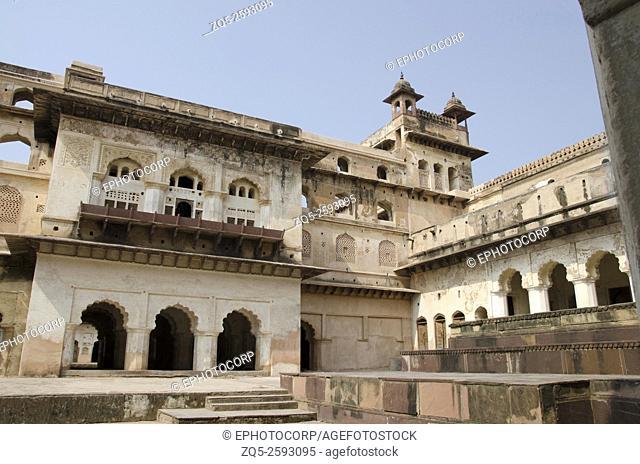 Interior view of Raj Mahal. Orchha Palace (Fort) Complex. Orchha. Madhya Pradesh. India