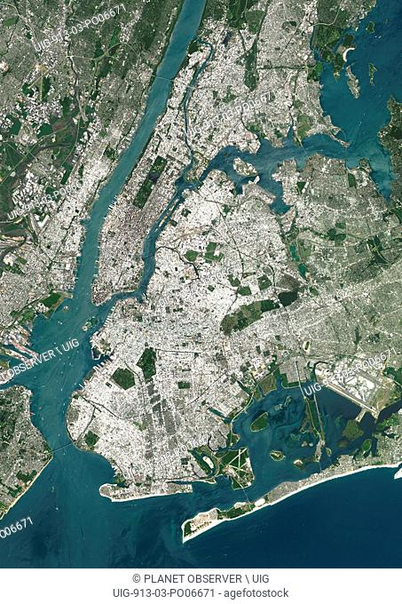 Colour satellite image of New York City, New York State, USA. Image taken on July 31, 2014 with Landsat 8 data
