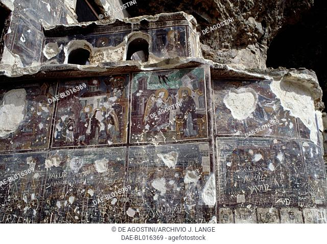 Scenes of the story of Christ and the Virgin Mary, 18th century, frescoes in the rock church of Sumela Monastery, Trabzon, Black Sea region, Turkey