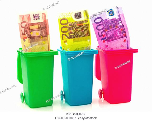 Colorful recycle bins with euro money inside isolated on white background