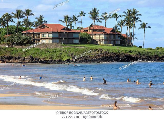 Hawaii, Maui, Wailea, beach, people,