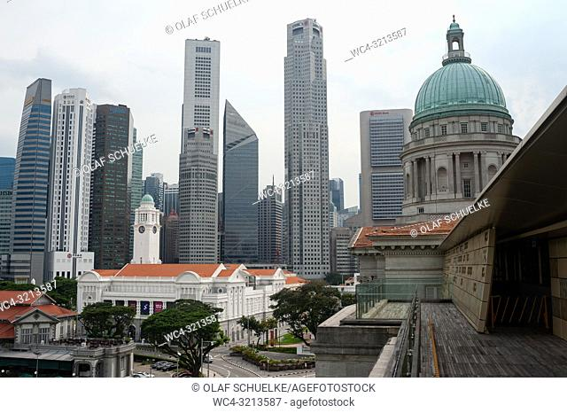 Singapore, Republic of Singapore, Asia - View from the rooftop terrace at the National Gallery Singapore of the city skyline with the central business district...