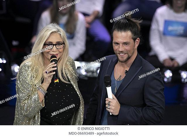 Italian tv host Mara Venier and italian singer Enrico Nigiotti during the episode of Domenica In dedicated to 69th Sanremo Music Festival