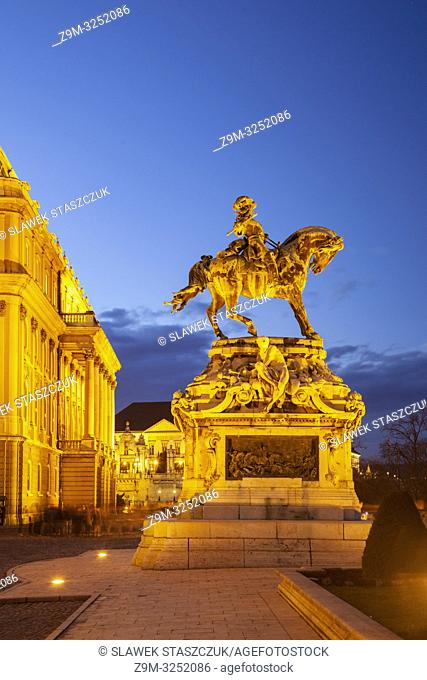 Evening at prince Eugene de Savoy statue at Buda Castle in Budapest, Hungary