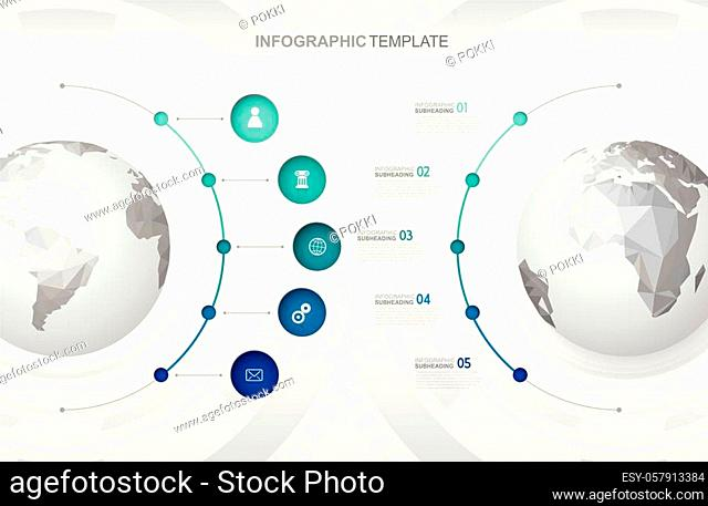 Infographic template with five circles and icons line up beside polygonal maps - light version