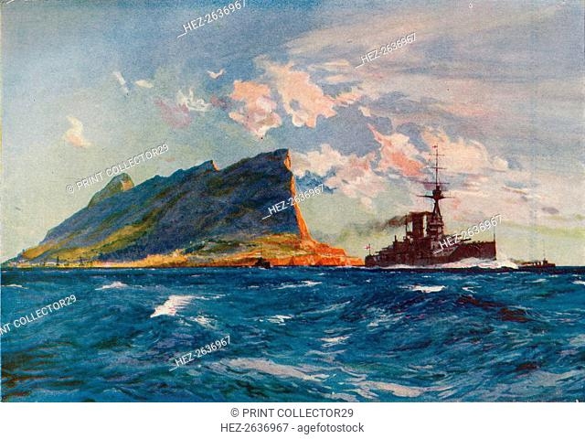 'The Queen Elizabeth off Gibraltar', c1918 (1919). Artist: Charles Dixon