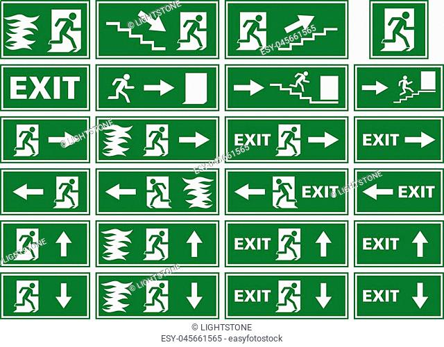 A collection of different variations of emergency exit signs / plates showing white silhouettes on green background. Various illustrations of a person or man...