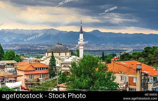 "Pamukkale, Turkey â. "" 07. 14. 2019. Panoramic view of Pamukkale village on a cloudy summer evening"