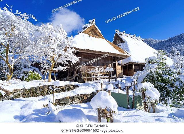 Miyama thatched roofs village (Kayabuki no Sato) in snow, Miyama-cho, Nantan city, Kyoto Prefecture, Japan