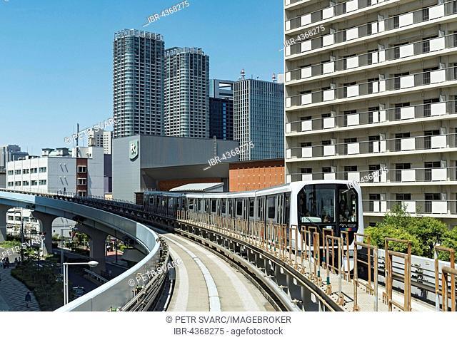 Yurikamome automated train in Daiba, Odaiba, Tokyo, Japan